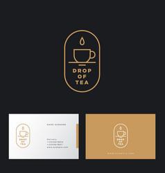 Drop tea cup flat linear logo business card vector