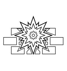 explosion brick wall icon outline black color vector image