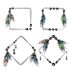 Feathers boho square frames vector