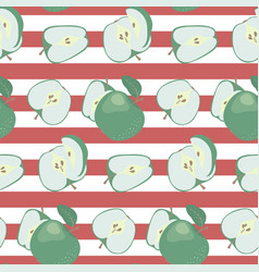fresh green apples on a striped red and white vector image