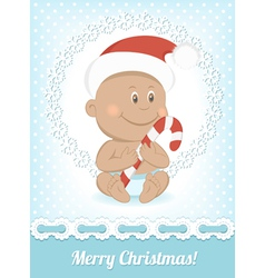Funny Christmas African baby vector