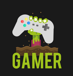 Gamer zombies hand holding joystick background vec vector