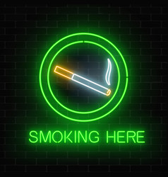 Glowing neon sign of smoking place on dark brick vector