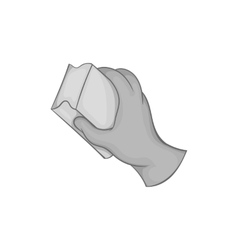 Hand with sponge for washing dishes icon vector