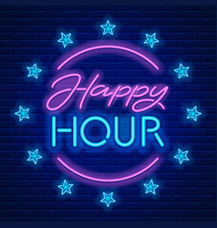 happy hour neon sign vector image