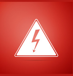 high voltage sign icon isolated on red background vector image