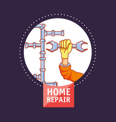 House pipeline structure with home repair icons vector