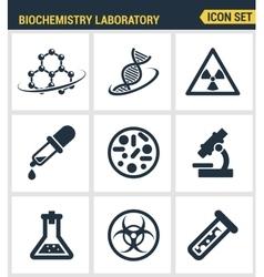 Icons set premium quality biochemistry research vector
