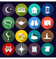 Islam Icons Set Flat vector image