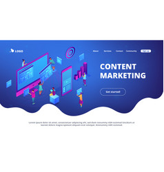 Isometric content marketing landing page vector