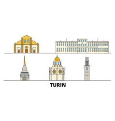 Italy turin flat landmarks vector