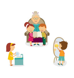 kids help with house cleaning listen to grandma vector image