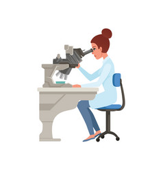 Laboratory assistant looking through microscope vector