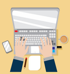 laptop workspace hand gesture graphic vector image
