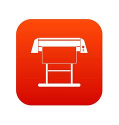 Large format inkjet printer icon digital red vector
