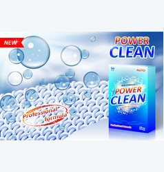 laundry detergent ad poster stain remover package vector image