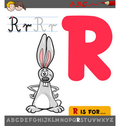 Letter r with cartoon rabbit vector