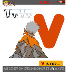 Letter v with cartoon volcano vector