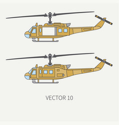 line flat color icon set military turboprop vector image