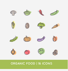 Linear icons vegetables vector