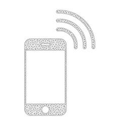 Mesh smartphone call icon vector