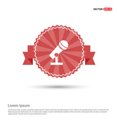 microphone icon - red ribbon banner vector image