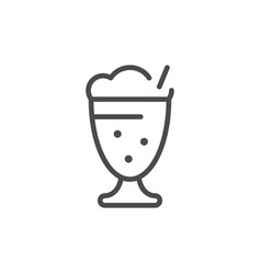 milkshake line outline icon and dairy product vector image