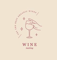 minimalist line design wine glass in a hand vector image