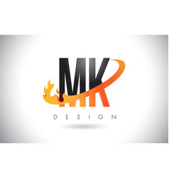 Mk m k letter logo with fire flames design and vector