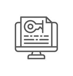 Monitor with password text key line icon vector