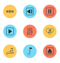 music icons set with pause music equalizer vector image