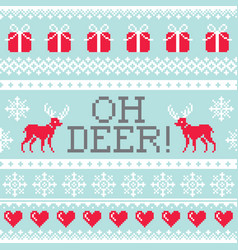 oh deer pattern christmas seamless design winter vector image