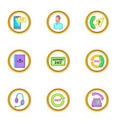 Online support icons set cartoon style vector