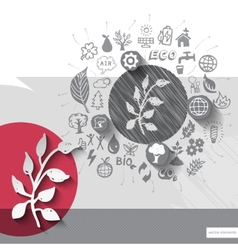 Paper and hand drawn herb emblem with icons vector