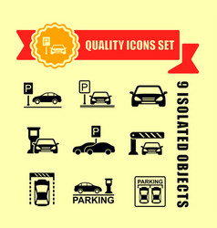 Parking icon set with red tape accent vector