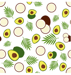pattern with avocado and coconut vector image
