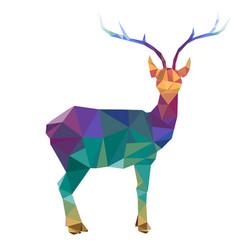 Polygonal silhouette of deer vector