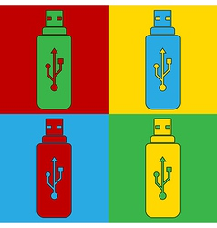 Pop art usb icons vector image