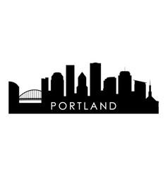 Portland skyline silhouette black portland city vector