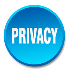 Privacy blue round flat isolated push button vector
