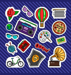 Quirky style retro patches vector