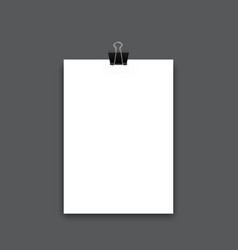 realistic sheet of paper with clip photo vector image