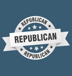 republican ribbon republican round white sign vector image