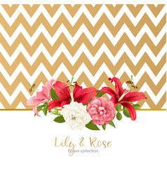 rose and lily wedding invittion card vector image