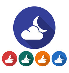 Round icon of crescent with cloud partly cloudy vector