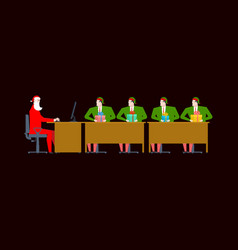 santa claus meeting christmas office elf and gift vector image