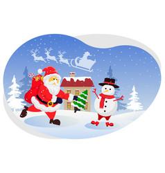 Santa giving gift to snowman vector