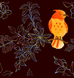 Seamless background with flowers and birds vector