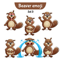 Set of cute beaver characters set 3 vector