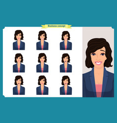 Set of woman expression isolated on white flat vector